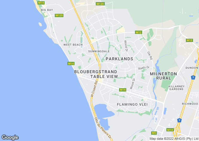 Map for Beautifully Designed Home, Bloubergstrand, Cape Town