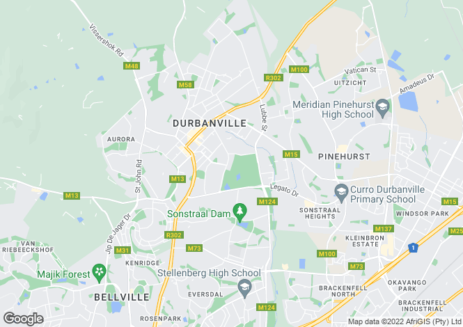 Map for Durbanville, Western Cape, South Africa