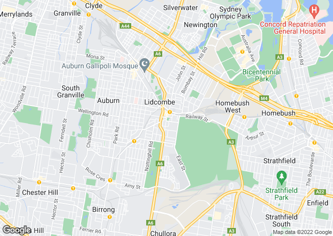 Map for Lidcombe, Sydney, New South Wales