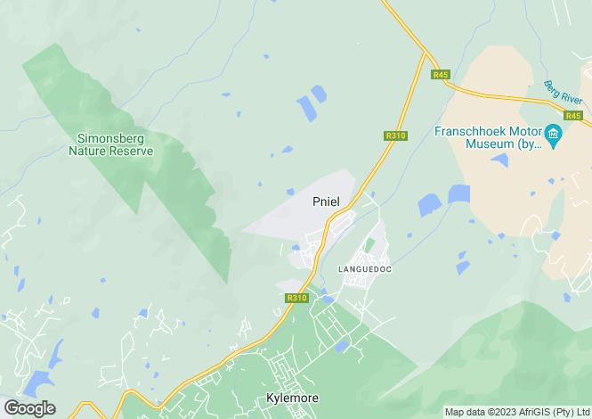 Map for Boschendal Wine Farm, Helshoogte Pass, Franschhoek, Western Cape