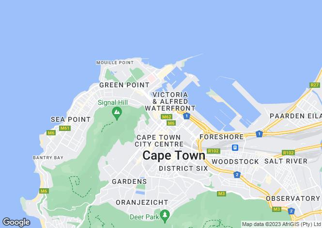 Map for De Waterkant, Cape Town, Western Cape