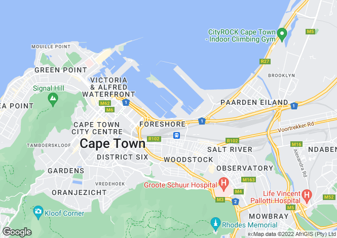 Map for Yacht Club, Foreshore, Cape Town, Western Province