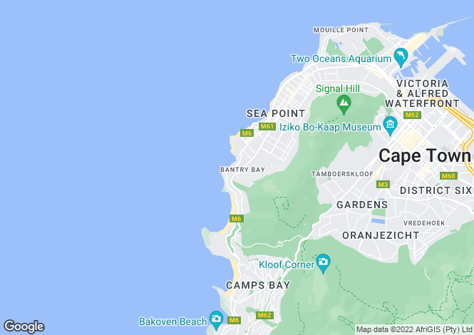 Map for 14 Ravine Road, Bantry Bay, Cape Town, Western Cape