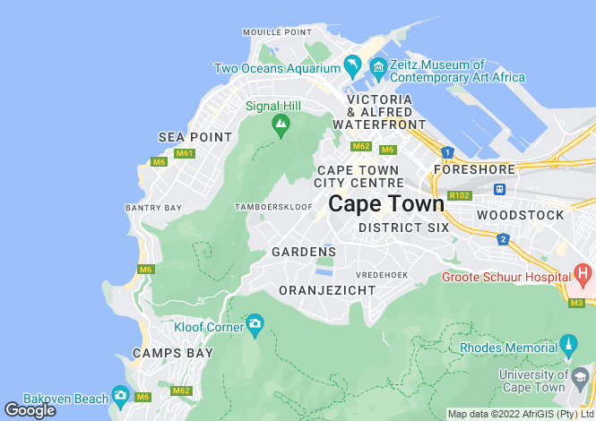 Map for Tamboerskloof, Cape Town, Western Cape