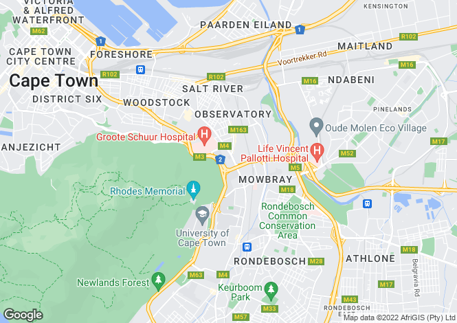 Map for Western Cape, Cape Town, Cape Town