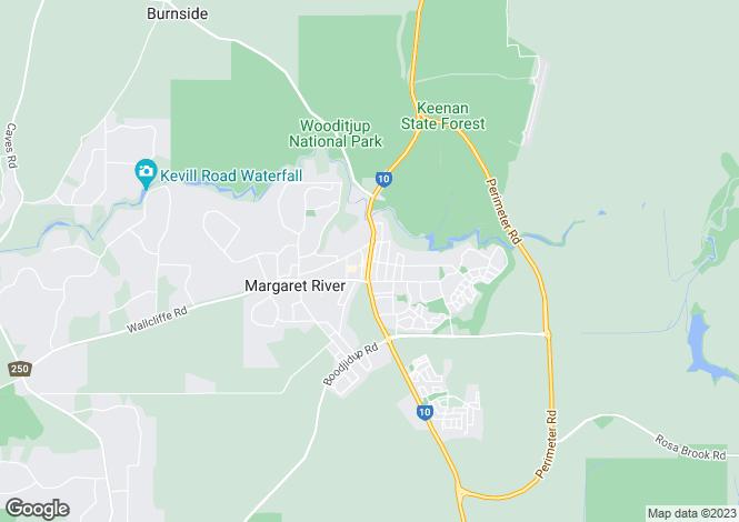 Map for Margaret River, Western Australia