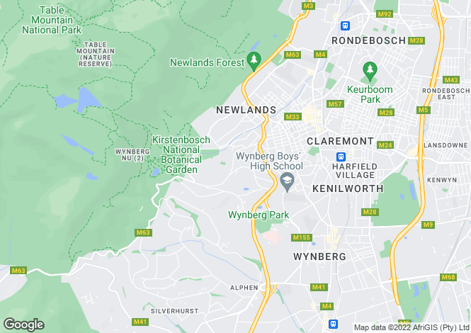 Map for Western Cape, Cape Town, Bishopscourt