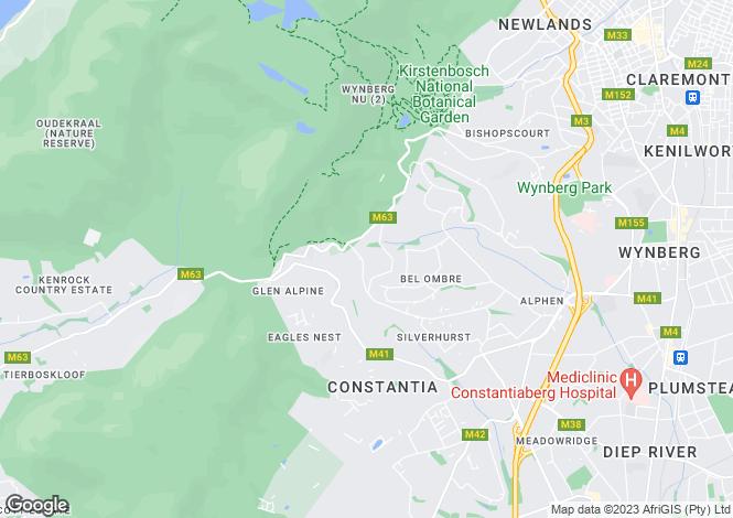 Map for Dawn Avenue, Constantia Upper, Cape Town