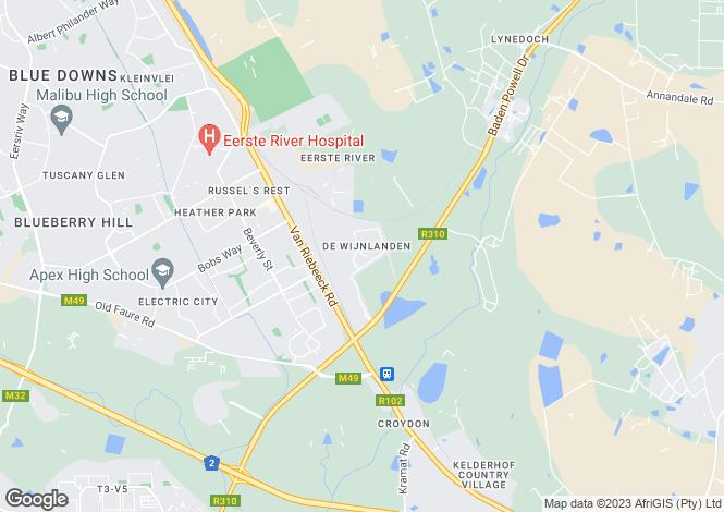 Map for Stellenbosch, Western Cape