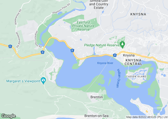 Map for Point Close, The Point, Knysna, Western Cape