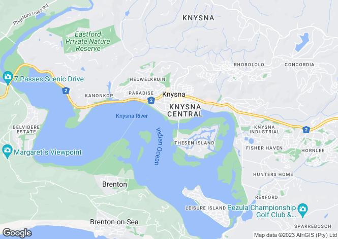 Map for Knysna, Western Cape