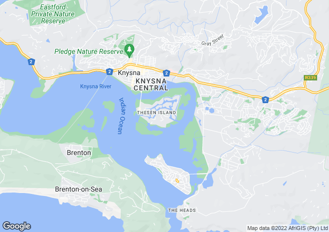 Map for 21 The Island, The Quays, Knysna, Western Cape