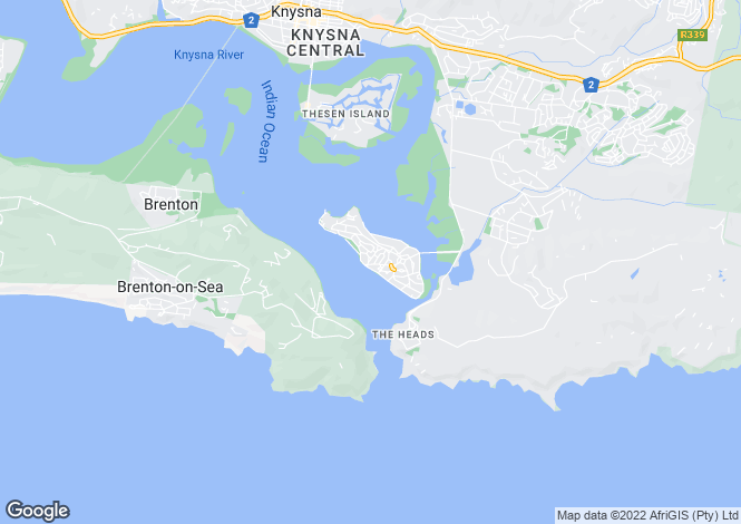 Map for Founders Road, Leisure Island, Knysna, Western Cape