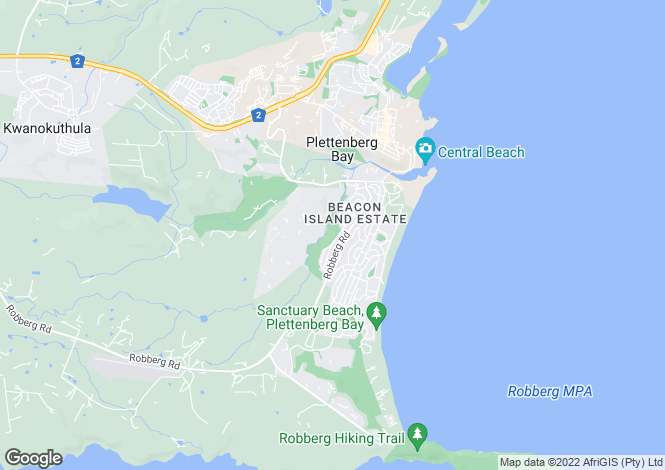 Map for Plettenberg Bay, Western Cape