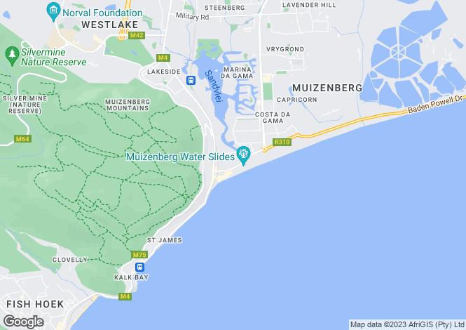 Map for Baker Road, Muizenberg