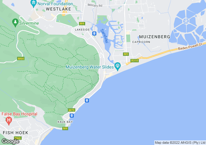 Map for Muizenberg, Cape Town, Western Cape