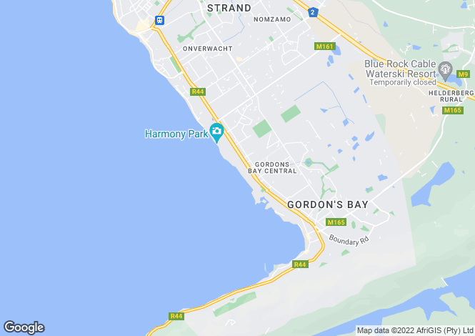 Map for Gordon`s Bay, Western Cape