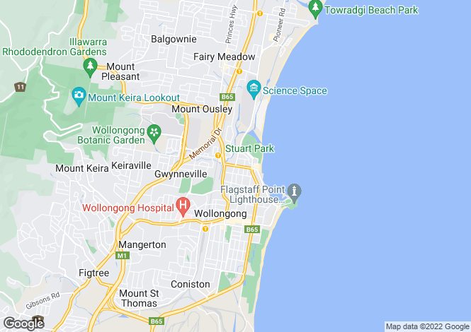 Map for New South Wales, North Wollongong