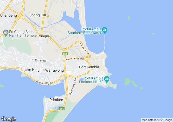 Map for New South Wales, Port Kembla