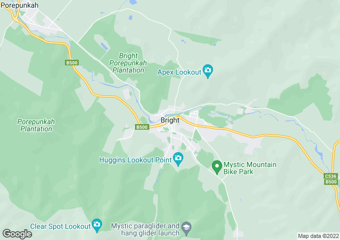 Map for 74 Great Alpine Road Harrietville Via, BRIGHT 3741