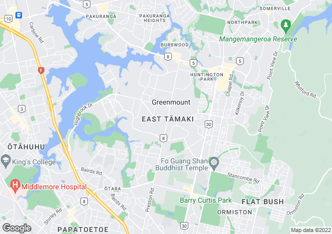 Map for Auckland, Manukau