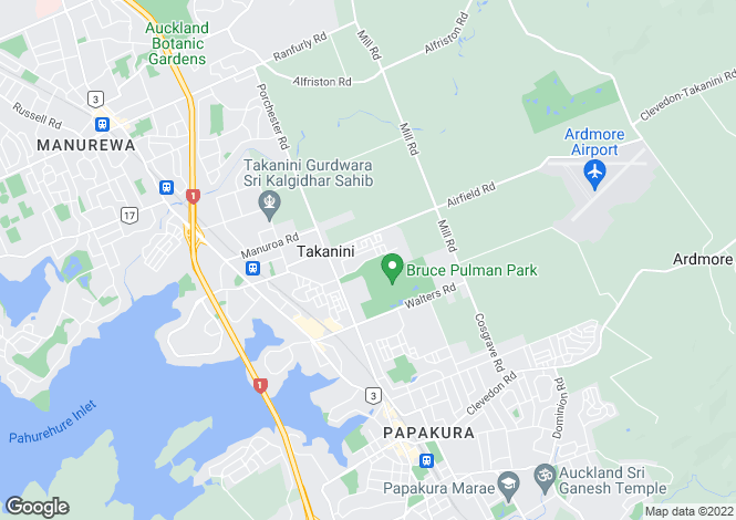 Map for Auckland, Papakura