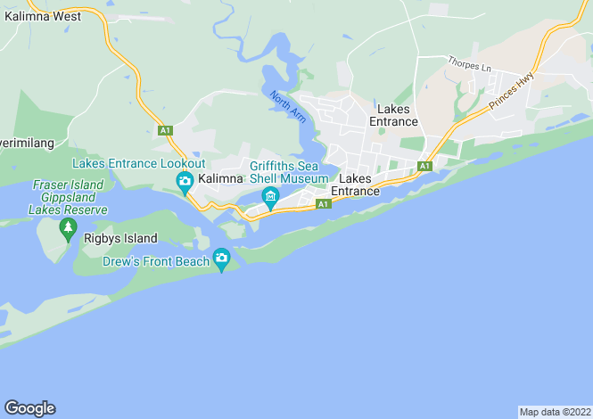 Map for 410/1 Esplanade, LAKES ENTRANCE 3909