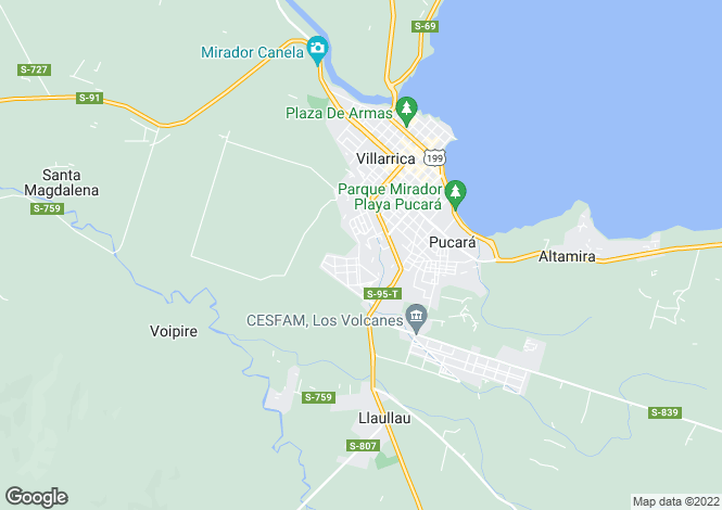 Map for Araucanía, Villarrica