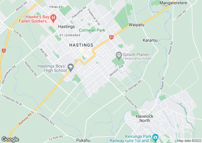 Map for Hawke`s Bay, Hastings