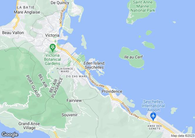 Map for Eden Island, Seychelles