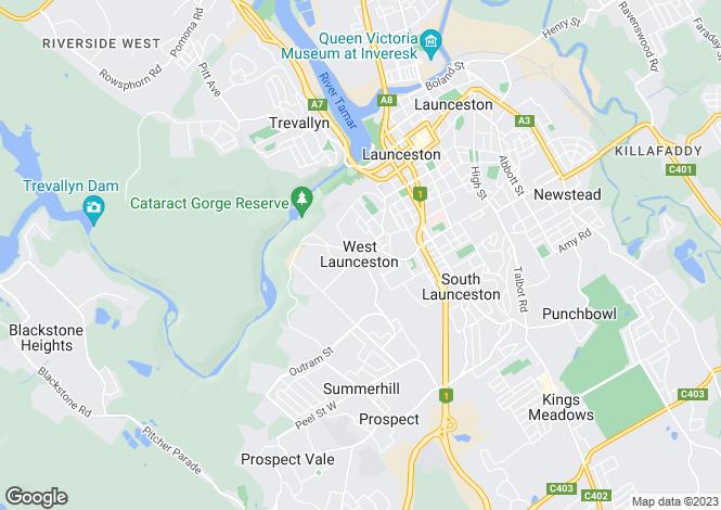 Map for 2/21-23 Denison Road, WEST LAUNCESTON 7250