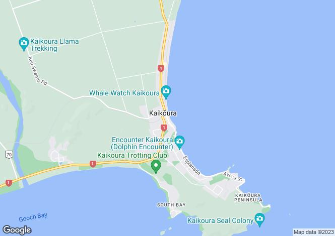 Map for Canterbury, Kaikoura