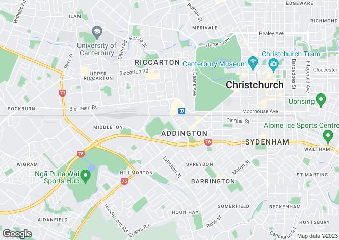 Map for Canterbury, Christchurch