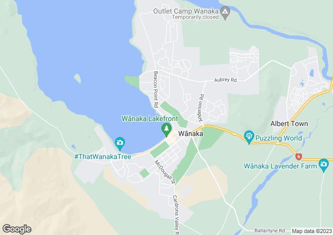 Map for Otago, Wanaka