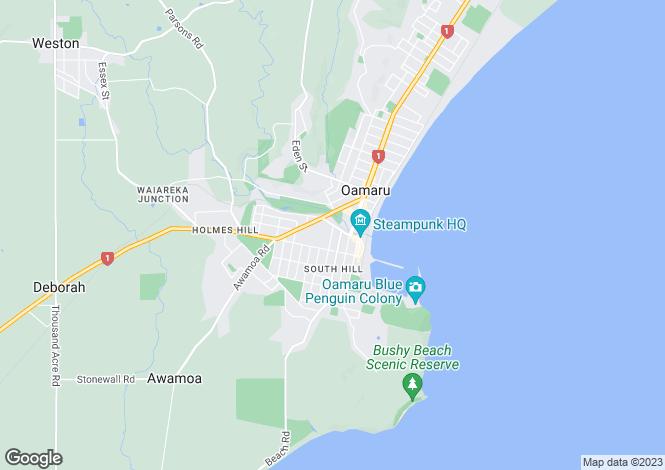 Map for Otago, Waitaki