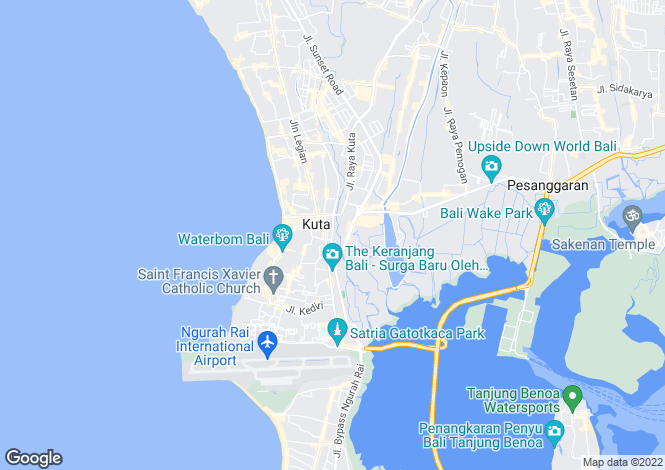 Map for Kuta, Bali