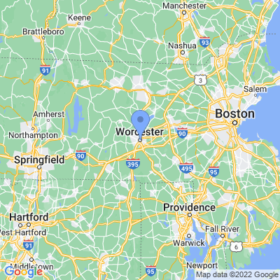 Map of truck driving jobs in Worcester, Massachusetts
