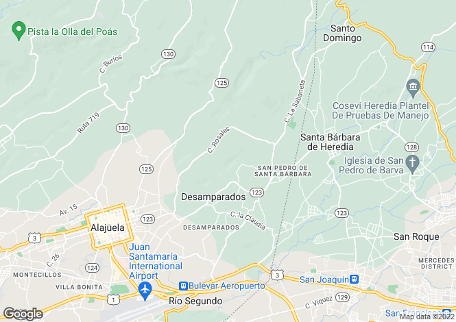 Map for Alajuela