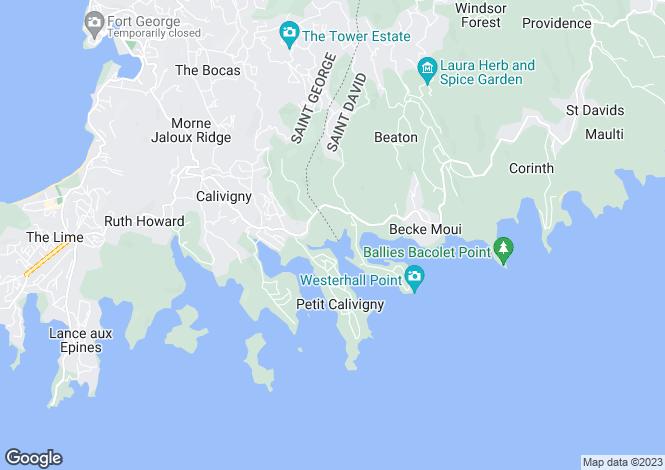 Map for Calivigny Gardens - Grenada, St. Davids