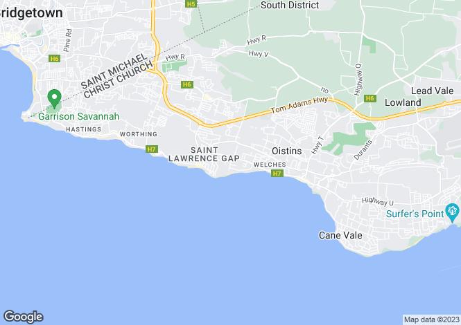 Map for Kalahari, Maxwell Coast Road, Christchurch, Barbados