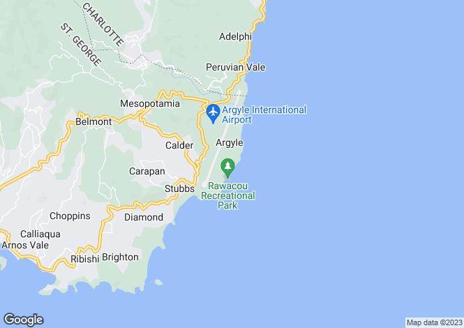 Map for Waves Ocean Villa - St.Vincent, Argyle