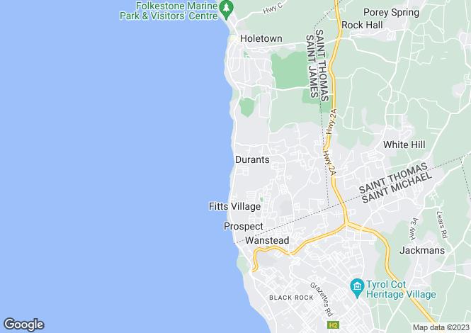 Map for Derricks, St James