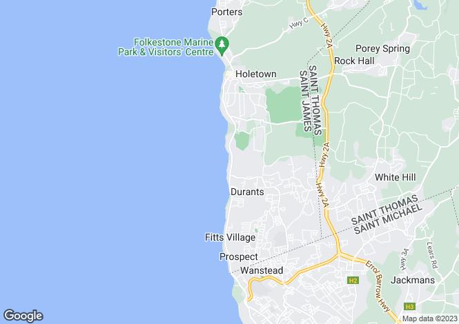 Map for St James, Derricks