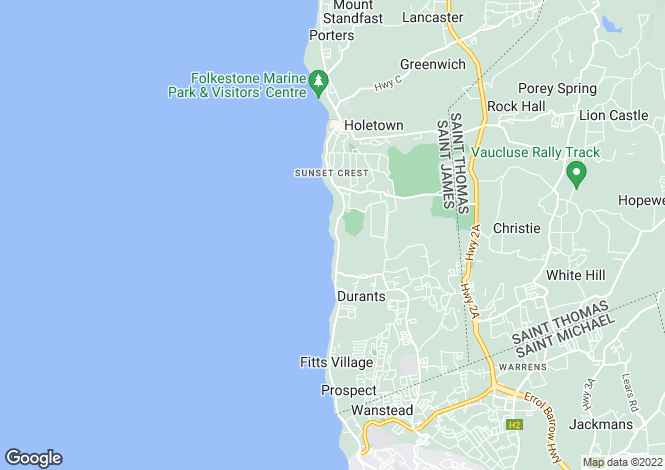 Map for One Sandy Lane, St James, Barbados
