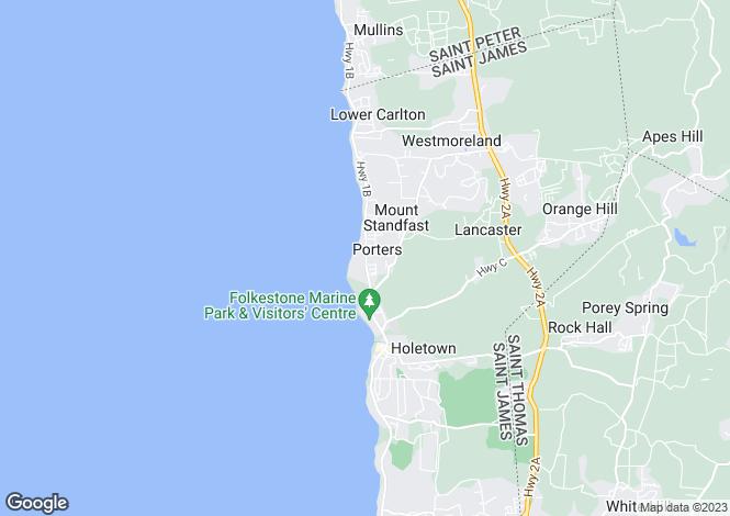 Map for Glitter Bay 207, Highway 1, Porters, St. James