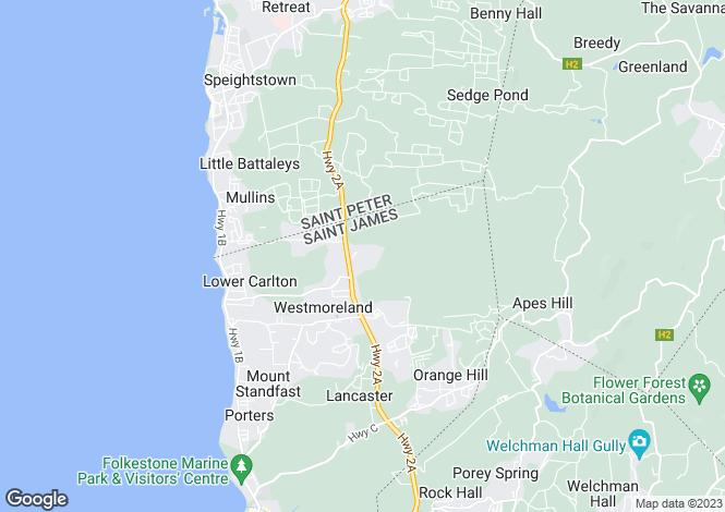 Map for Tortuga, Turtleback Ridge, St. James