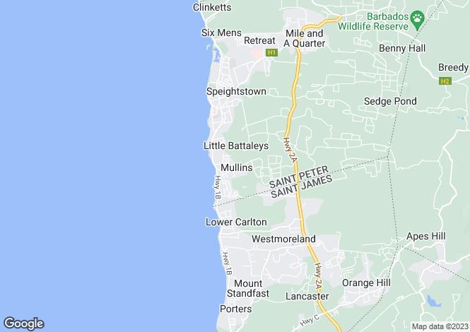 Map for Pandanus Great House Estate, Mullins Ridge, St. Peter