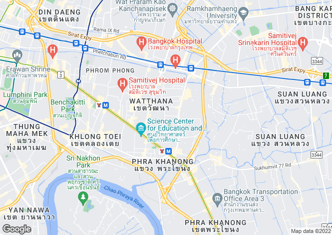 Map for Watthana, Bangkok