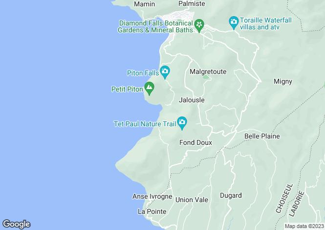 Map for Sugar Beach, Val Des Pitons, Saint Lucia