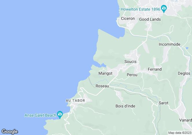 Map for Bois Rouge, Marigot, St. Lucia